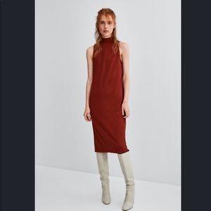 Zara Burgundy Back Buttoned Dress